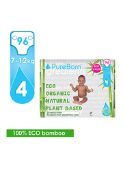 Pure Born Eco Organic Natural Plant Bases Pineapple Diapers, Size 4, Junior, 7-12 kg, Value Pack, 96 Count