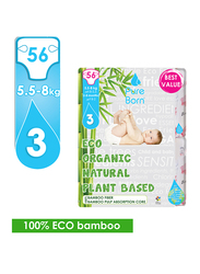 Pure Born Eco Organic Natural Plant Bases Kisses Diapers, Size 3, Junior, 5-8 kg, Value Pack, 56 Count