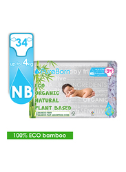 Pure Born Eco Organic Natural Plant Bases Pineapple Diapers, Size 1, Newborn, 0-2 kg, Single Pack, 34 Count