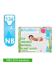 Pure Born Eco Organic Natural Plant Bases Banana Leaf Diapers, Size 1, Newborn, 0-2 kg, Value Pack, 136 Count