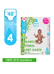 Pure Born Eco Organic Natural Plant Bases Pineapple Diapers, Size 4, Junior, 7-12 kg, Value Pack, 48 Count