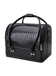 Fineblue Professional Large Capacity Versatile Makeup Box Bag, Black