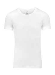 Lux 3-Piece Premium Cotton 3x1 Rib Round Neck Half Sleeve T-Shirt Set for Men, Double Extra Large, White