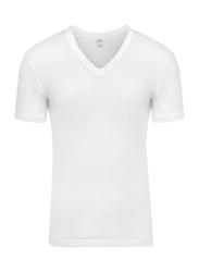 Lux 3-Piece Premium Cotton V-Neck Half Sleeve T-Shirt Set for Men, Large, White