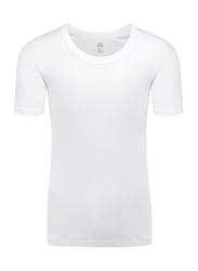 Lux 3-Piece Premium Cotton Round Neck Half Sleeve T-Shirt Set for Men, Extra Large, White