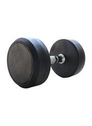 Marshal Fitness Rubber Round Dumbbells Set, 2 x 27.50KG, Black/Silver