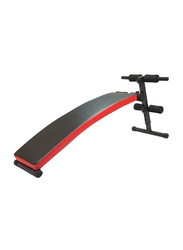 Marshal Fitness Curved Sit up Bench Device for Stomach Exercise, MFLI-1531, Red/Black