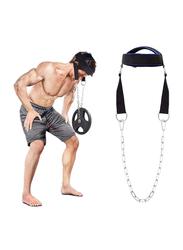 Neck Head Harness Adjustable Neck Power Training Belt, Black/Blue