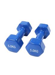 Marshal Fitness Deluxe Vinyl Coated Dumbbells Set, 2 x 5KG, Blue