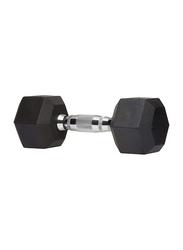 Marshal Fitness Rubber Hex Dumbbell, 35KG, Black/Silver