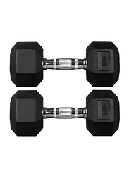 Marshal Fitness Rubber Dumbbells Set, 2 x 8KG, Black/Silver