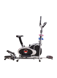 Marshal Fitness 5-in-1 Orbitrac Cross trainer Home Use Exercise Bike with Stepper, Twister, Dumbbell, BX-32GST, Silver/Black