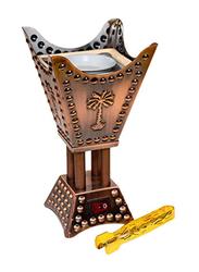 AM Small Square Electric Bakhoor Incense Oud Frankincense Resin Burner, Brown