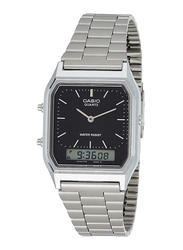 Casio Vintage Series Analog Quartz Unisex Watch with Stainless Steel Band, Water Resistant, AQ230A-1DMQ, Silver-Black