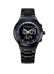 Al-Harameen Azan Analog/Digital Unisex Watch with Stainless Steel Band, Water Resistant, HA-6106 BB, Black