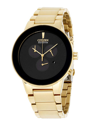 Citizen Analog Watch for Men with Stainless Steel Band, Water Resistant and Chronograph, AT2242-51E, Gold-Black
