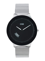 Storm Analog Unisex Watch with Stainless Steel Band, ST-47075/BK, Silver-Black