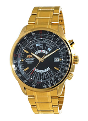 Orient Sports Automatic Analog Watch for Men with Stainless Steel Band, Water Resistant, Multi-Year Calendar and Chronograph, EU070, Gold-Black