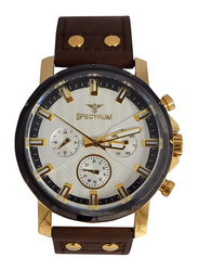 Spectrum Sport Analog Watch for Men with Leather Band, Chronograph, S25142G, Brown-White
