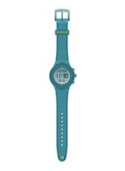 Al Fajr Digital Unisex Watch with Rubber Band, Water Resistant, WY-16, Turquoise-Grey