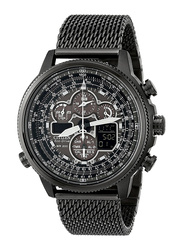 Citizen Eco-Drive Navihawk Analog Watch for Men with Stainless Steel Band, Water Resistant and Chronograph, Black