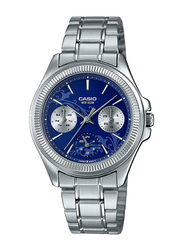 Casio Analog Watch for Women with Stainless Steel Band, Water Resistant and Chronograph, LTP-2088D-2A1VDF, Silver-Blue