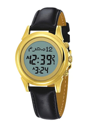Al-Harameen Digital Unisex Watch with Leather Band, Water Resistant, HA 6381FGL, Black-Grey