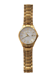 Spectrum Analog Unisex Watch with Stainless Steel Band, S12570-1M, Gold-White