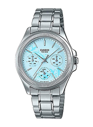 Casio Analog Watch for Women with Stainless Steel Band, Water Resistant and Chronograph, LTP-2088D-2A2VDF, Silver-Light Blue