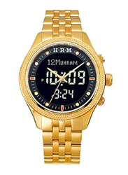 Al-Harameen Azan Analog/Digital Unisex Watch with Stainless Steel Band, Water Resistant, HA-6105, Gold-Black