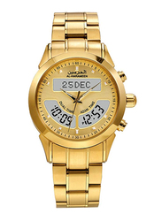 Al-Harameen Azan Analog/Digital Unisex Watch with Stainless Steel Band, Water Resistant, HA-6102FG, Gold