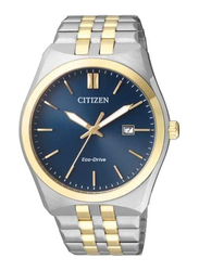 Citizen Analog Unisex Watch with Stainless Steel Band, BM7334-66L, Silver/Gold-Navy Blue