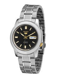 Seiko Classic Automatic Analog Unisex Watch with Stainless Steel Band, Water Resistant, SNKK17K1, Silver-Black