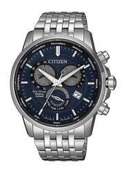 Citizen Solar Powered Analog Watch for Men with Stainless Steel Band, Water Resistant and Chronograph, BL8150-86L, Silver-Navy Blue