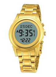 Al-Harameen Digital Unisex Watch with Stainless Steel Band, Water Resistant, Gold-Grey