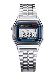 Casio Casual Digital Unisex Watch with Stainless Steel Band, Water Resistant, A159WA A159, Silver-Black