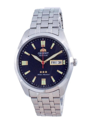 Orient Analog Unisex Watch with Stainless Steel Band, Water Resistant, RA-AB0019L19B, Silver-Blue