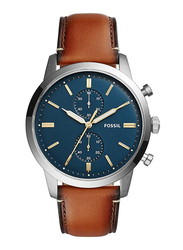 Fossil Analog Quartz Watch for Men with Leather Band, Water Resistant and Chronograph, FS5279, Brown-Blue