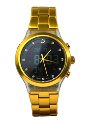 Al Fajr Analog/Digital Unisex Watch with Aluminum Band, Water Resistant, WB-20, Gold-Black