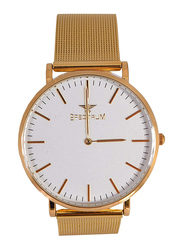 Spectrum Analog Dress Watch for Men with Yellow Gold Plated Band, S25149G, Gold-White