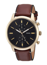 Fossil Townsman Analog Watch for Men with Leather Band, Water Resistant and Chronograph, FS5338, Dark Brown-Black
