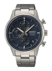 Seiko Quartz Analog Watch for Men with Titanium Band, Water Resistant and Chronograph, SSB387, Silver-Blue