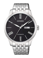 Citizen Analog Unisex Watch with Stainless Steel Band, NH8350-59E, Silver-Black