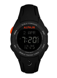 Al Fajr Digital Unisex Watch with Rubber Band, Water Resistant, WQ-18, Black