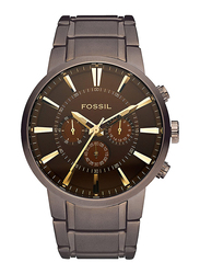 Fossil Million Dollar Analog Quartz Watch for Men with Stainless Steel Band, Water Resistant, Stopwatch, Timer Functionality and Chronograph, FS4357, Brown
