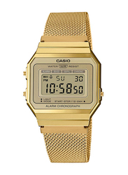 Casio Digital Quartz Unisex Watch with Stainless Steel Band, Water Resistant, A700WMG-9ADF, Gold