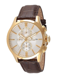 Spectrum Analog Watch for Men with Leather Band, Water Resistant and Chronograph, S23022M, Brown-White