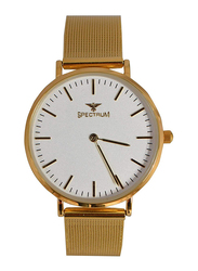 Spectrum Analog Watch for Women with Yellow Gold Plated Band, S25149L, Gold-White