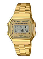 Casio Digital Quartz Unisex Watch with Stainless Steel Band, Water Resistant, A168WG-9WDF, Gold