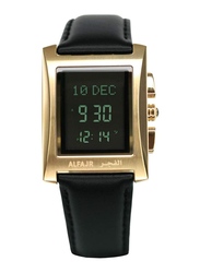 Al Fajr Digital Unisex Watch with Leather Band, Water Resistant, WL-08G, Black